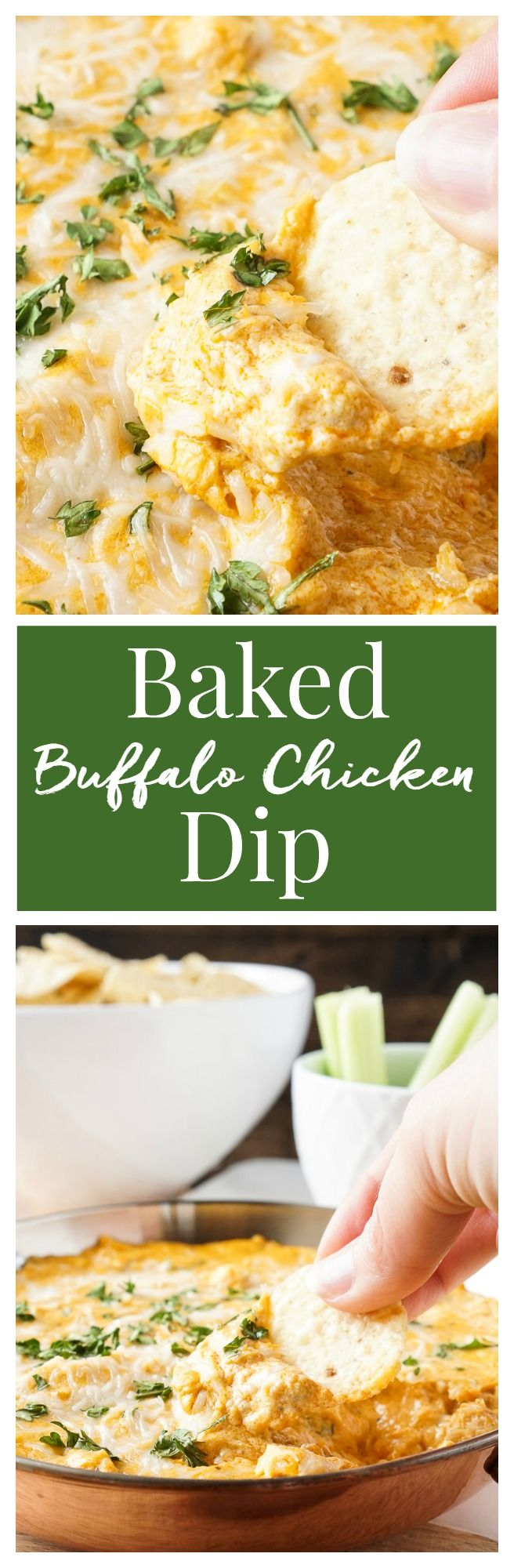 This Baked Buffalo Chicken Dip is made with real cream and blue cheeses, rotisserie chicken, hot sauce and spices for a sensational appetizer that's sure to please! Plus, it's ready in less than 30 minutes!
