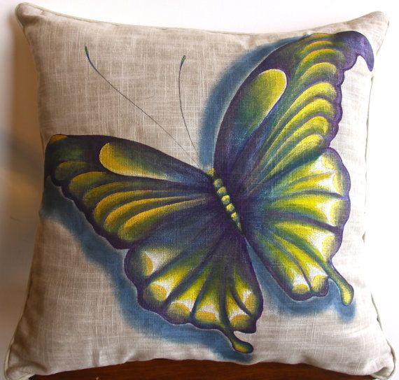 Butterfly, hand painted pillow