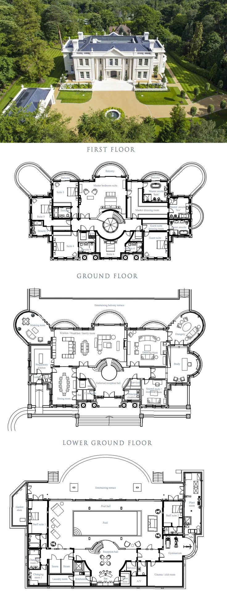 The Ramparts – A Stately Newly Built Mansion In Surrey, England (FLOOR PLANS)