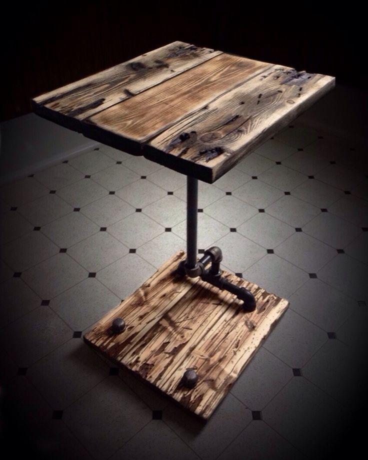 Handmade Rustic Pallet/Pipe Nightstand