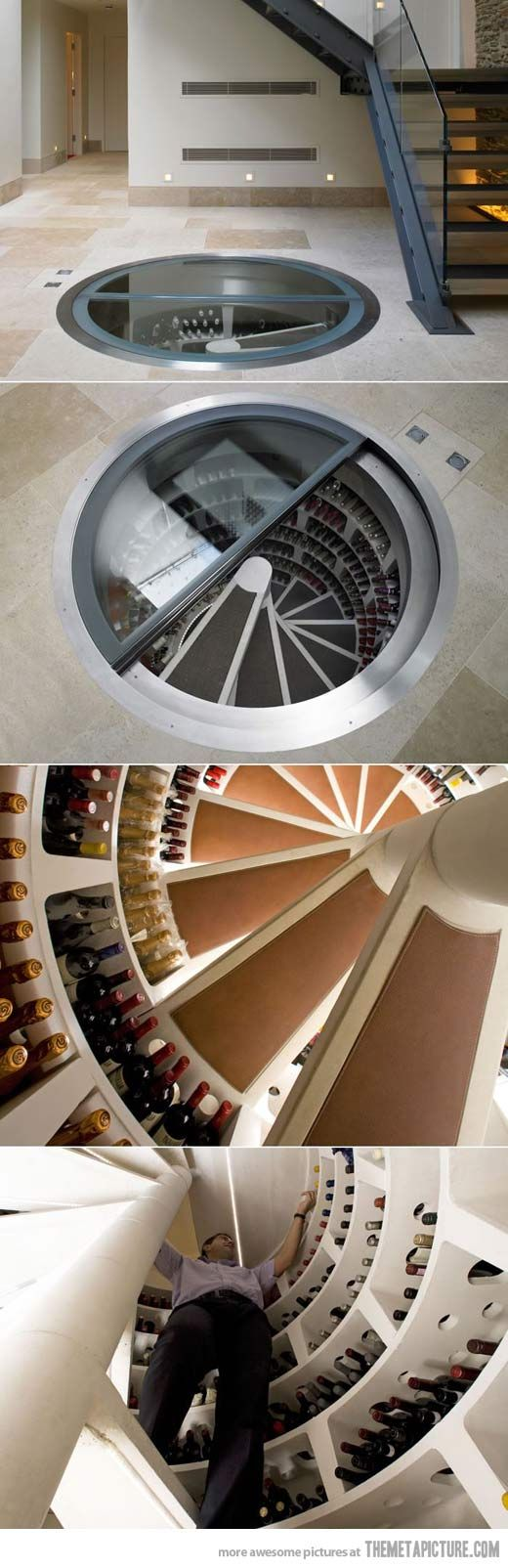 This is a very clever way to to create a unique storage space. I like how the wine 'cellar' is still under ground level giving it a modern twist to a traditional cellar.  Spiral Wine Cellar WOW!