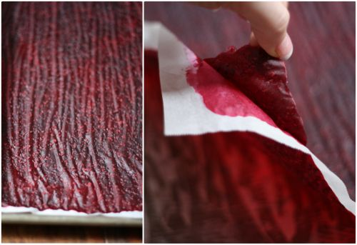"""17 Apart: DIY  Natural Raspberry Peach """"leather"""" (fruit roll up)"""