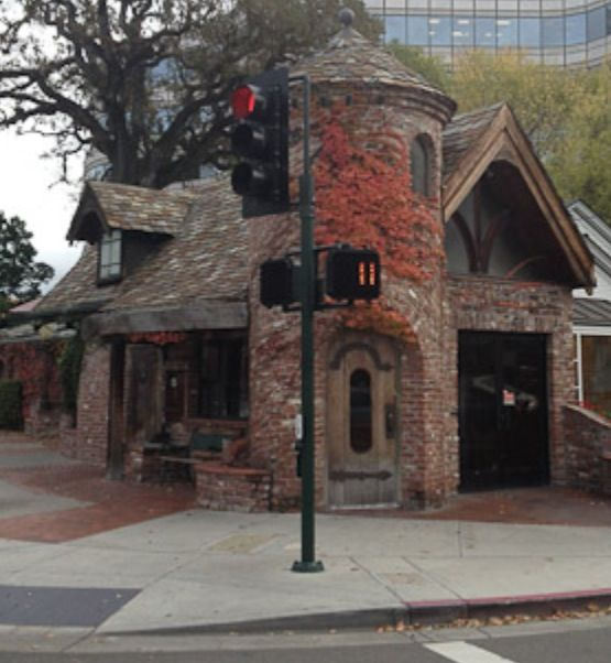 Storybook style brick commercial building in Walnut Creek, California.