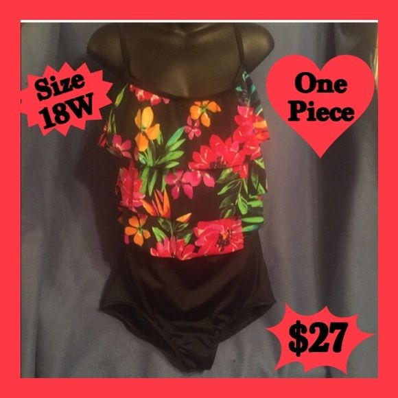 18W Floral & Leaf Multi Color One Piece Swimsuit Really Cute & Very Colorful Floral Print One-Piece Swimsuit. Size 18W. Low Cut Hips & Lined Top.  I Also Have Listed A Cute Black Lined With Built In Panty Swim Skirt, That Would Look Cute With This Swimsuit If You Desire More Coverage On The Bottom. Le Cove Swim One Pieces