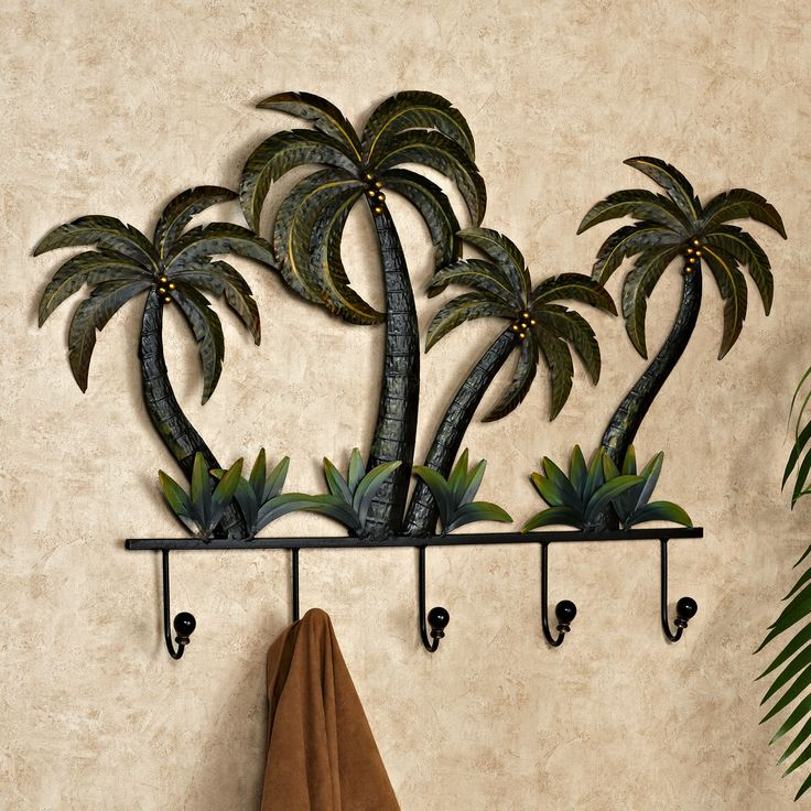 Palm tree tropical metal wall hook rack bathrooms decor for Tropical metal wall art