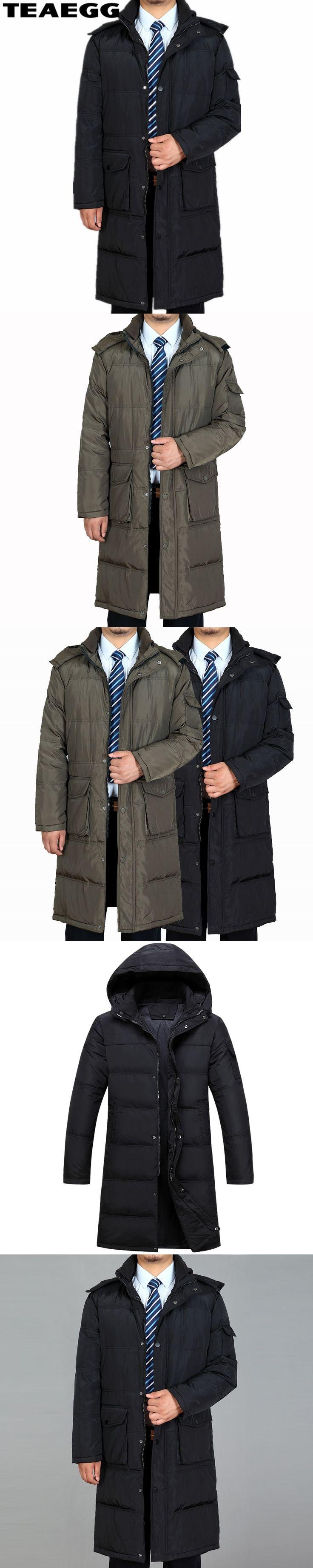 TEAEGG Plus Size 4XL Black Long Winter Duck Down Jacket Men Clothing Hooded White Duck Down Jacket For Men Parka Hombre AL268