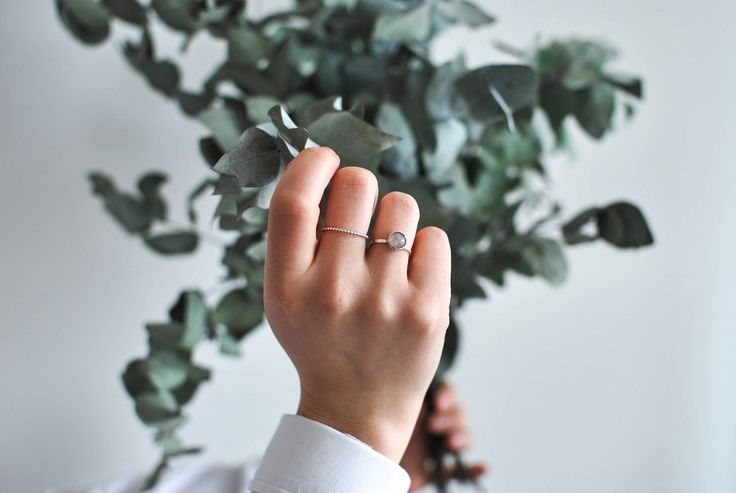 Light pink gemstone silver ring. Handmade, Swedish design.