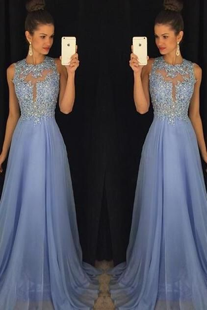 Blue Prom Dresses,Elegant Evening Dresses,Long Formal Gowns,Beaded Party Dresses,Chiffon Pageant Formal Dress