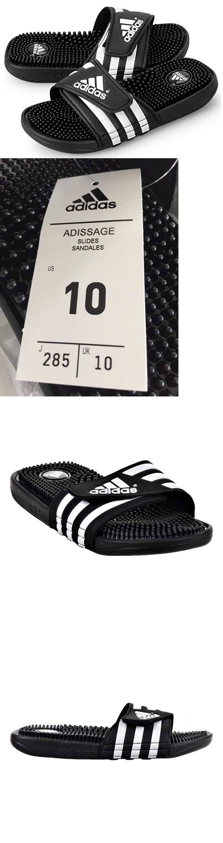 Sandals and Flip Flops 11504: New Nwt Adidas Adissage 078260 Black White Slides Sandals Flip Flops Mens Sz 10 -> BUY IT NOW ONLY: $34.95 on eBay!