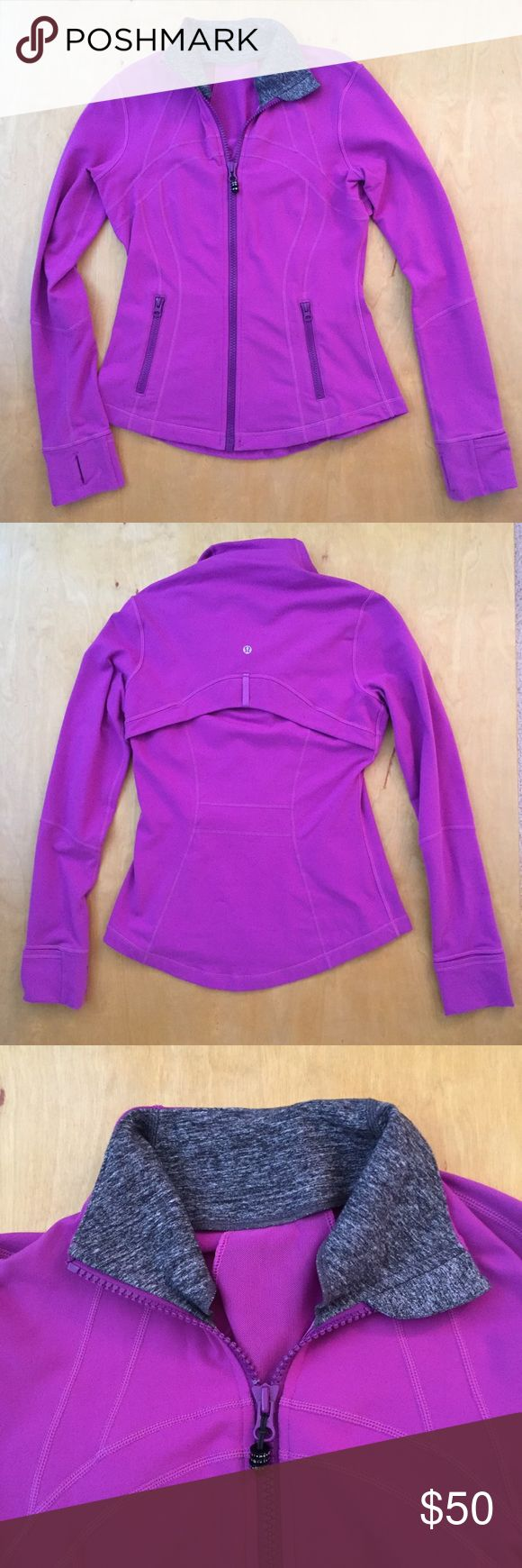 Lululemon Define Jacket Lululemon Define Jacket. Color is a bright violet with a black/grey space dye collar. Really cool combo lock zipper pull. Used condition with some pilling especially under the arms, near zipper pockets, and cuffs. Cuffs are a bit grubby but may come clean in the laundry.. lululemon athletica Tops Sweatshirts & Hoodies