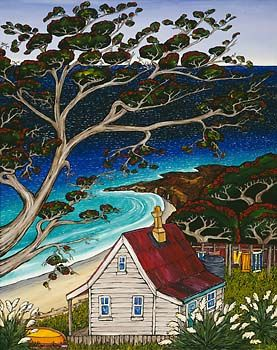 Fiona says about that her painting Remember that it _is about magic NZ holidays I had as a child and teenager. There was no pressure to work...