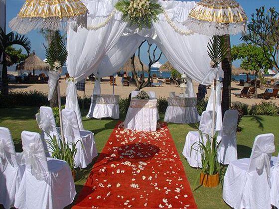 Romantic wedding aisle at Melia Benoa, Bali.