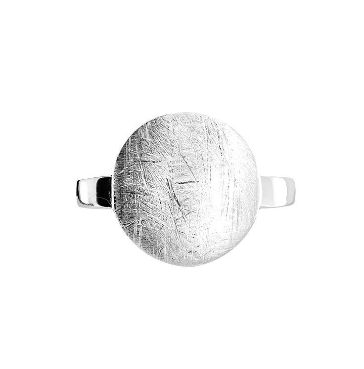 Silver Brushed Circle Ring