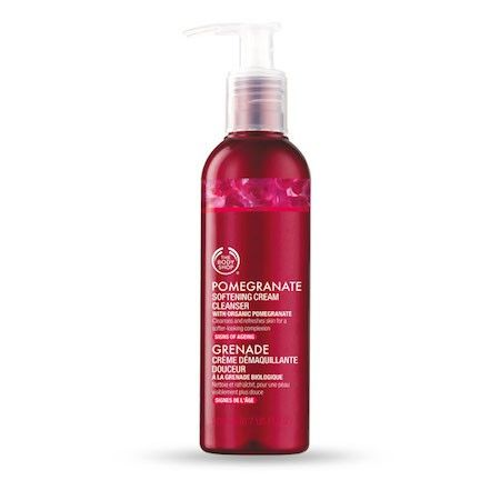 The Body Shop POMEGRANATE SOFTENING CREAM CLEANSER 200ML The Pomegranate range addresses the signs of ageing. This cleanser effectively removes make-up and impurities, leaving skin feeling soft, more supple and refreshed. • Gently cleanses • Leaves skin feeling soft and silky • Skin feels firmer and brighter