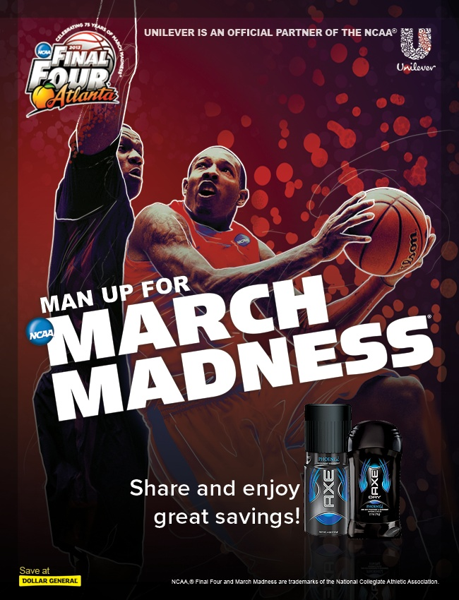 Slam dunk your way to great savings on Suave and Axe products. Share the savings with your friends for $1 off Suave and Axe products.