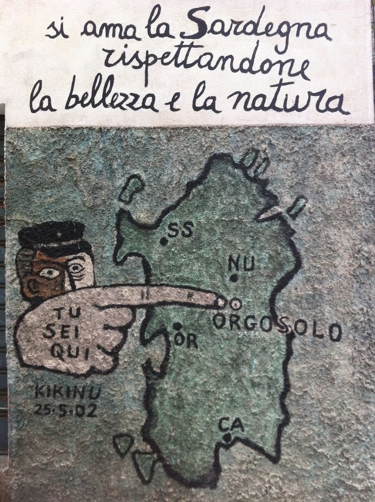 """One of the amazing """"murales"""" in Orgosolo: respect the place we live in!"""