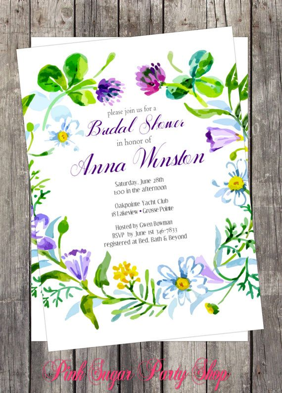 Items Similar To DIY Invitation Watercolor Floral Bridal Baby Birthday Party Customized On Etsy