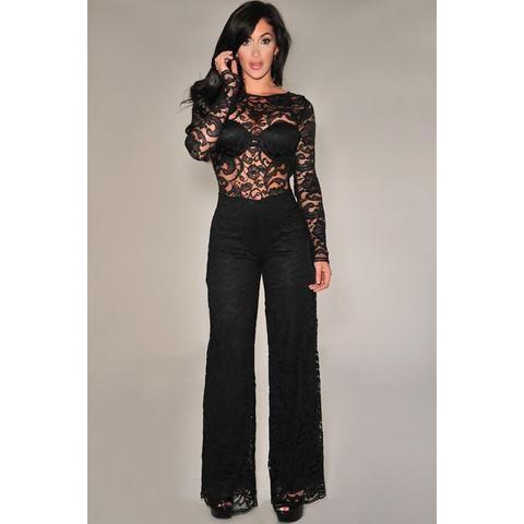 Black Long Sleeve Lace Cut-Out Jumpsuit Sale LAVELIQ