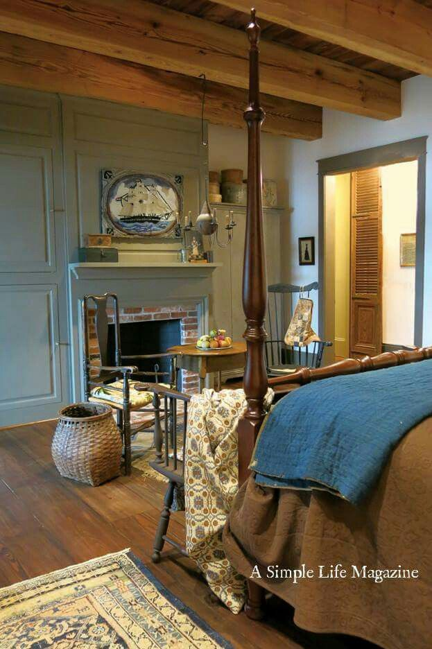 210 best colonial primitive bedrooms images on pinterest for Colonial bedroom decor