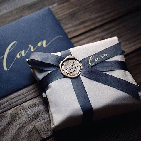 """Stamptitude on Instagram: """"Beautiful penmanship by @seniman_calligraphy together with coordinated stationery and a Custom Wax Seal = Perfection """""""