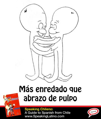 Más enredado que abrazo de pulpo | Literal translation: More tangled than a octopus' hug. Meaning: A confused, mixed-up situation. #SpanishSayings #Chile