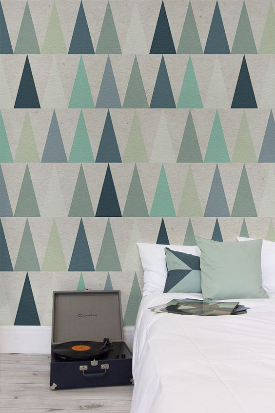 Blue Triangles Design Wall Mural Part 68