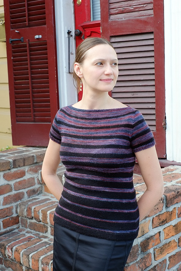 NEW Rowan Fine Art isn't just for sock yarn!  Here is my Elfe tee (pattern by Astrid Schramm), only used 0.75 skeins of colorway Raven! http://www.dayanaknits.com/2013/06/sock-yarn-for-garments-rowan-fine-art.html