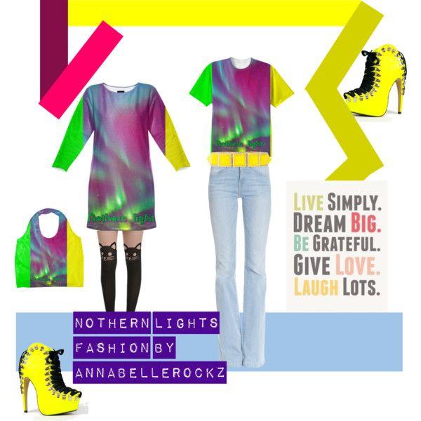 Nothern lights fashion line by #Annabellerockz  #sweatshirtdress #dress #tshirt #ecobag