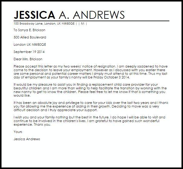resignation letter letter sample forward image for nanny resignation