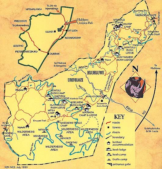 Hluhluwe game reserve map - Hluhluwe Imfolozi Game Reserve
