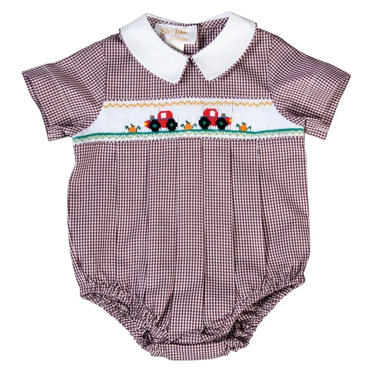 Autumn Tractor Brown Gingham Smocked Boy Bubble | Gingham ...