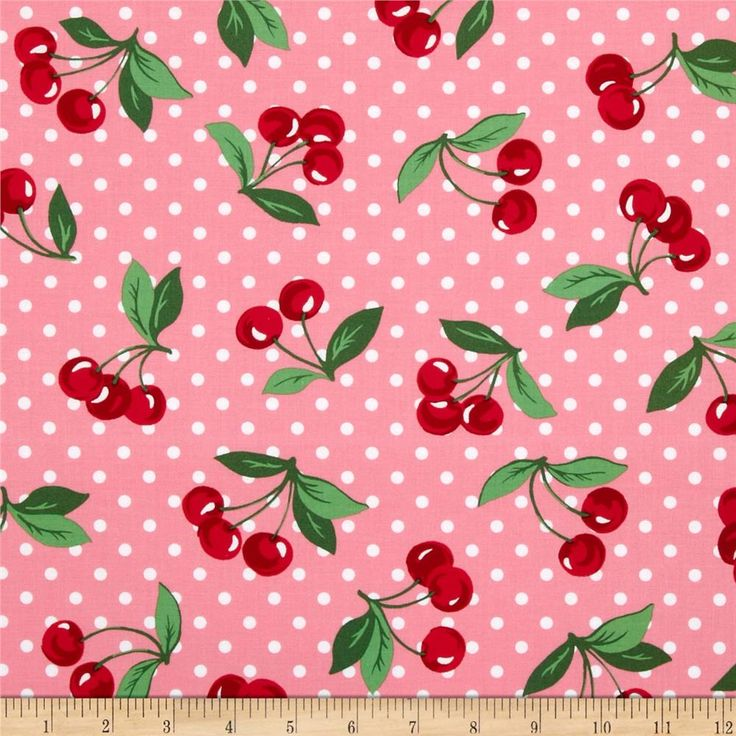 Michael Miller Cherry Dot Bloom from @fabricdotcom  Designed for Michael Miller, this cotton print is perfect for quilting, apparel and home decor accents. Colors include pink, white and shades of red and green.