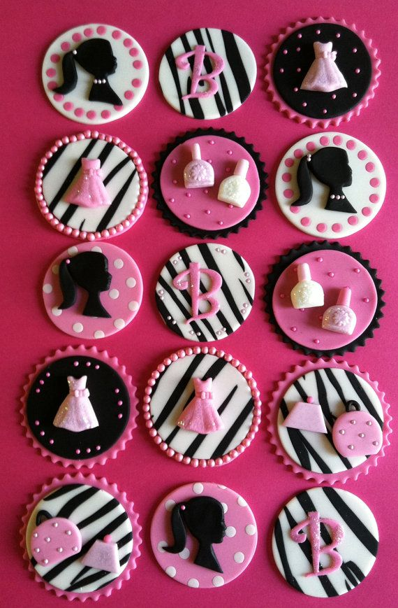 Barbie cupcake toppers via Etsy