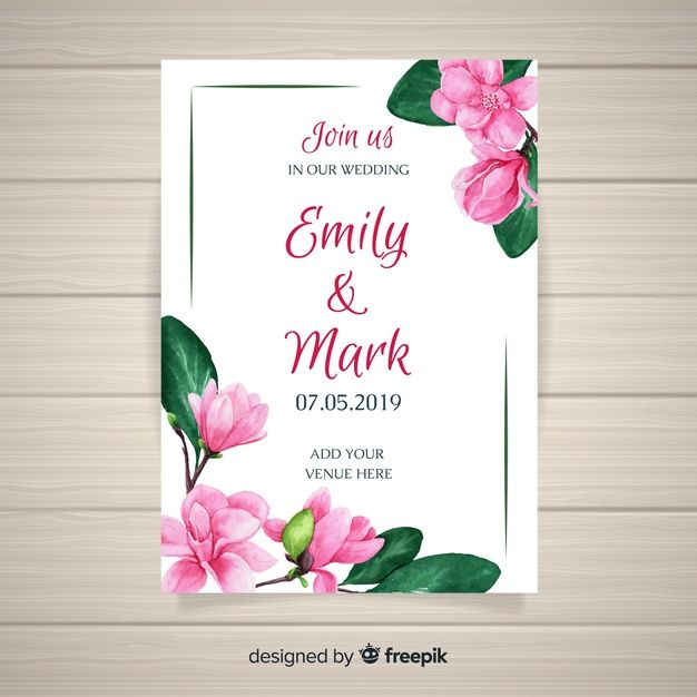 Watercolor Floral Wedding Card Template In 2020 Wedding Cards