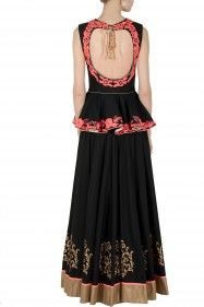 J BY JANNAT Black, beige and neon peplum lehenga set