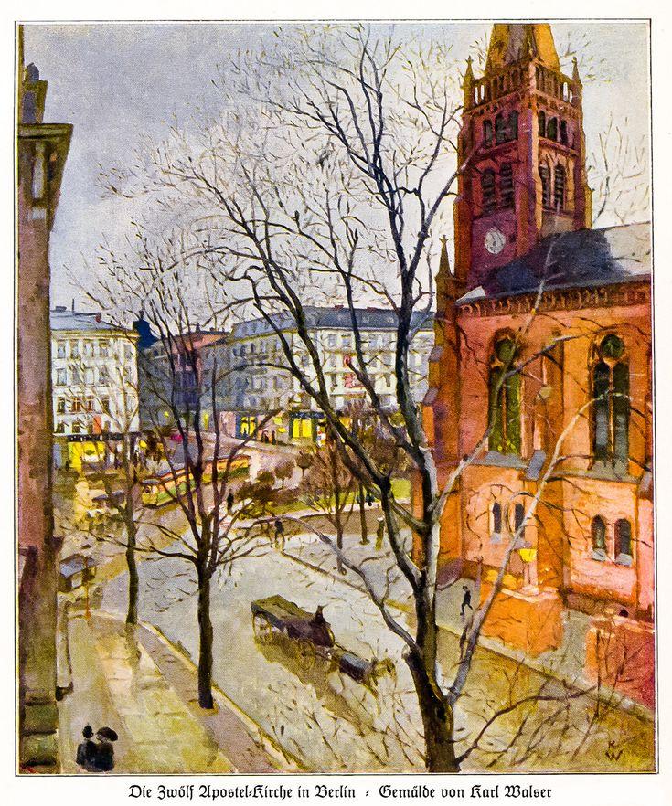 1913 Zwölf Apostel-Kirche in Berlin (1874 erbaut) | Gemälde von Karl Walser,  * 1877 Biel/Schweiz † 1943 Bern - lebte und arbeitete 1902-1914 vor allem als Illustrator und Bühnenbildner in Berlin, dann in der Schweiz. (www.kettererkunst.de/bio/KarlWalser-1877-1943.php)
