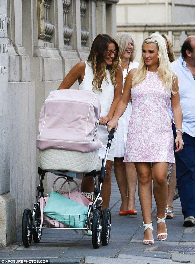 Billie Faiers.. pink mini-dress, white strappy heels, and white Celine bag..