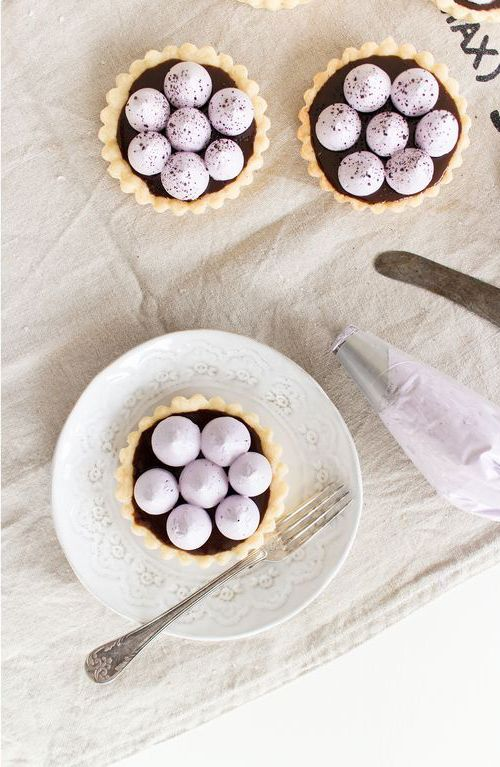 liquOrice toffee pies with blueberry meringue