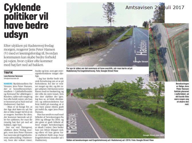 """Man siger """"Et uheld kommer sjældent alene"""" - foranlediget af nedkørsel af cyklist Hadstenvej/Tåsingevej gør jeg mit til, at der ikke sker uheld ved Engelsholmsvej/Hadstenvej - et rigtig grimt sted pga. dårlig oversigt."""
