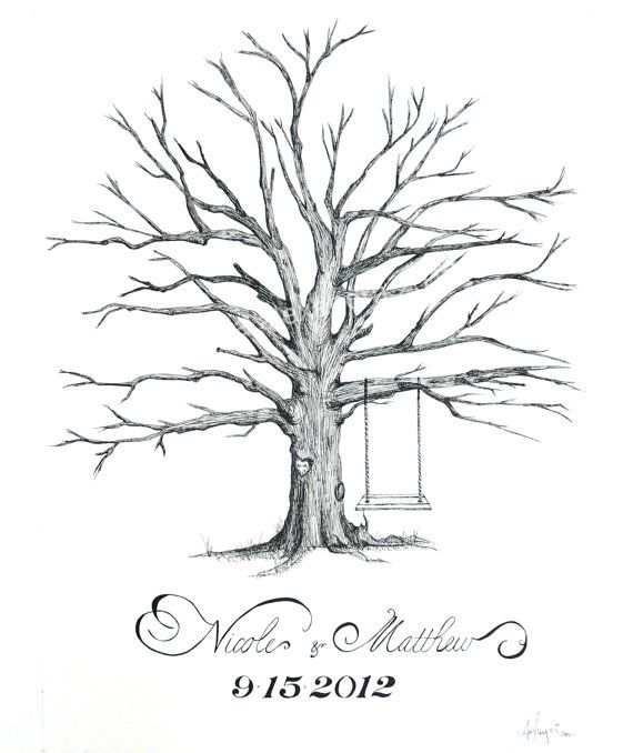 Incredible hand-drawn wedding guestbook trees - your guests leave a thumbprint (as leaves), and sign it...a unique way to remember your big day!  By PenAndInkwell on Etsy.