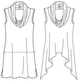 a deep cowl sleeveless layering knit tunic with 3 hems by Nancy Zieman, McCall's 6607.