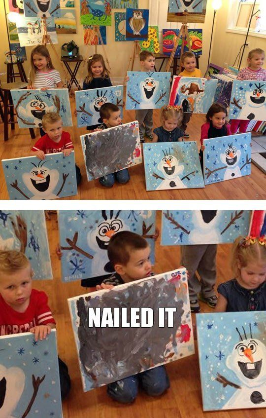 Painting Class: NAILED IT - Don't hate! He thinks outside the box! LOL!