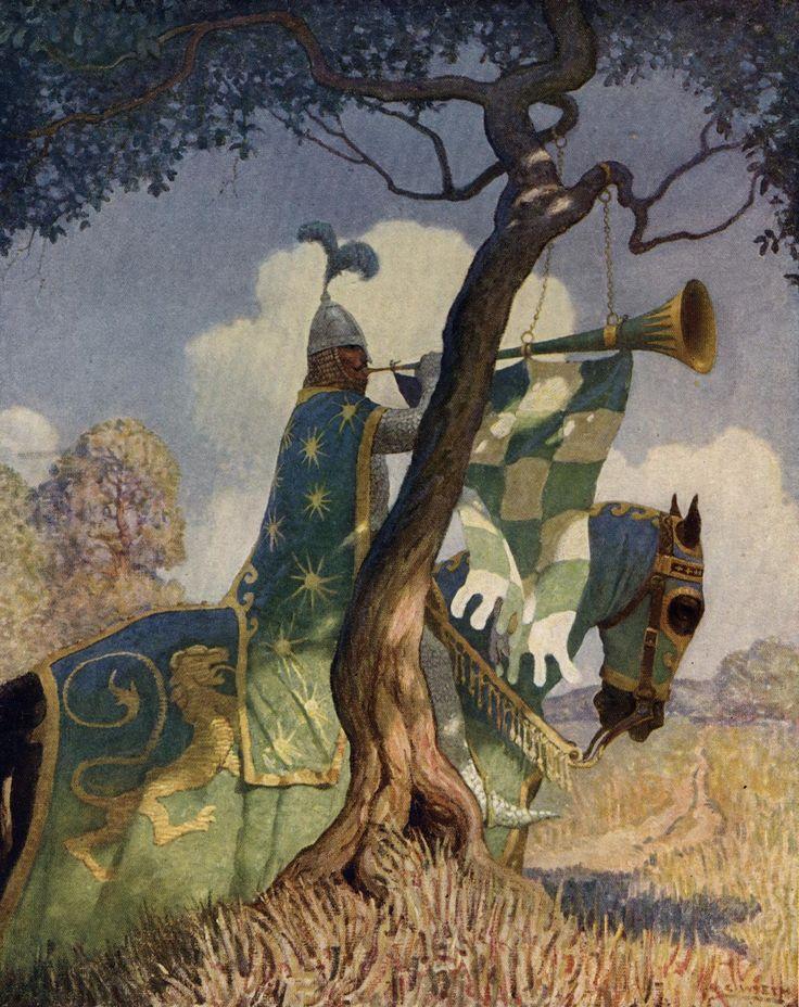 NC Wyeth The Green Knight Preparing to Battle Sir Beaumain