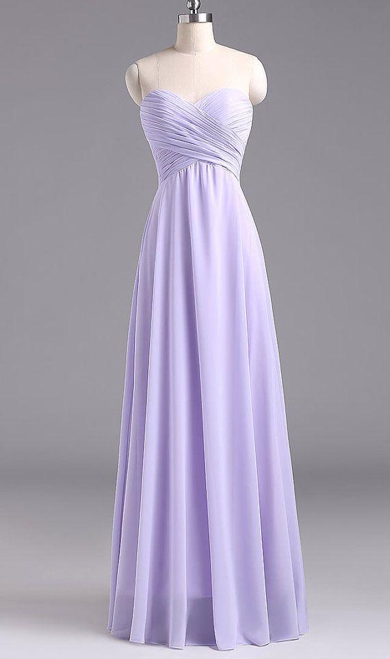 Lavender Chiffon BRIDESMAID  Dress,Long Sweetheart Evening Dress,Long Lace Up Back Evening Dress,Lavender Sleeveless Prom Dress on Etsy, $119.00