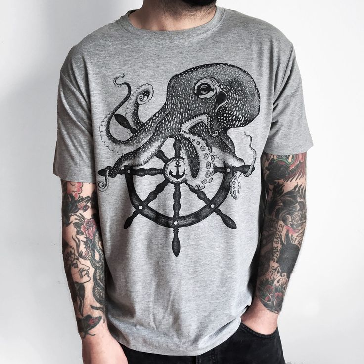 OCTOPUS shirt mens t-shirt octopus tshirt mens shirt printed tee Sailor illustration mans tshirt gift for HIM shirt for man tattoo navy tee - pinned by pin4etsy.com