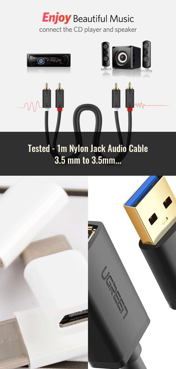 premium selection ed8da 1d0b5 1m Nylon Jack Audio Cable 3.5 mm to 3.5mm Aux Cable Male to Male ...