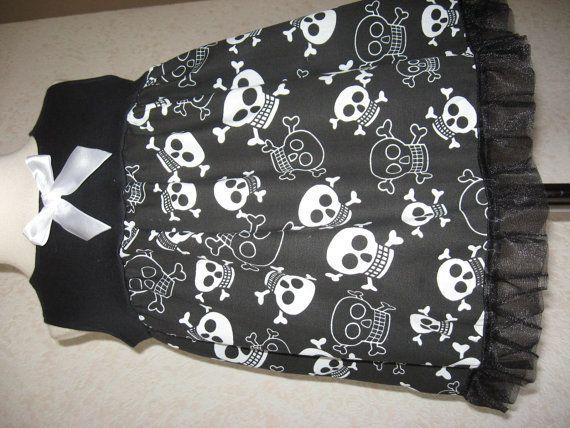 sequoia NEW Baby Girls Black,Pink,white,Blue Funky Skulls Top/Dress,Goth,Rock,Punk,Gift