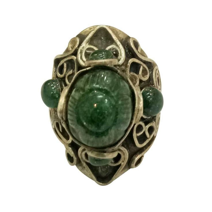 Antique Stunning Green Onyx Old Silver Handmade Vintage Look Ring For GIFT #Handmade