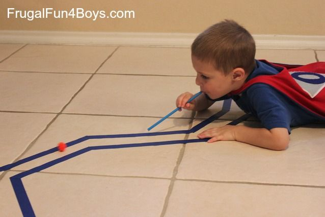 Racing pom pom balls! I have used this idea for years but didn't think to have in a lined track like this. It will be fun to see if they can stay in it. Repinned by Autism Classroom. Follow us at http://www.pinterest.com/autismclassroom/