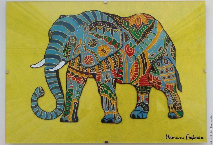 Купить Витражная картина Африканский Слон - комбинированный, слон, разноцветный, цветной, Витраж, Витражная роспись